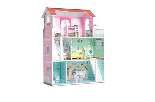 Milliard Casa de Muñecas de Madera con Muebles, 3 Niveles de Juego, para Niñas