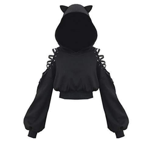 Sudadera de Manga Larga para Mujer, diseño de Orejas de Gato, Color Negro Negro...