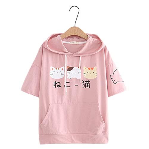 Lindas camisetas para adolescentes kawaii gato impresión manga corta con capucha...