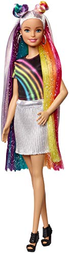 Barbie Destellos de Arociris, Muñeca rubia con cabello extra largo con accesorios...