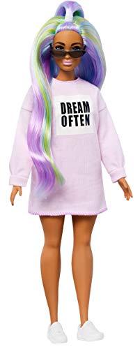 Barbie Fashionista Muñeca con El Pelo Largo de Color Arcoíris (Mattel GHW52)