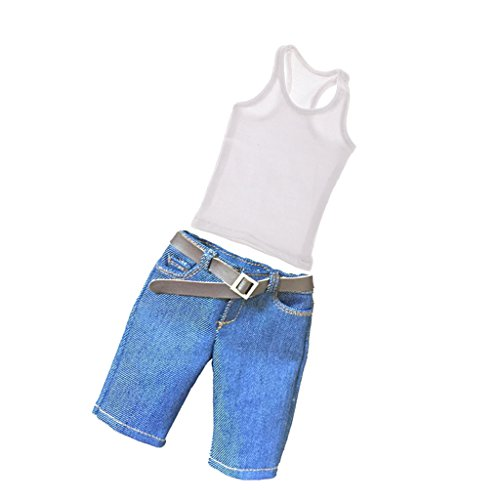 T TOOYFUL 1/6 Chaleco Blanco Y Pantalones Cortos Casuales de Khaki para 12 '' de...