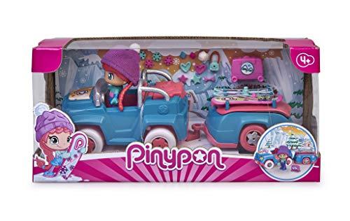 Pinypon- Coche Nieve con Remolque, muñeca esquí vehículo, Juguete (Famosa...