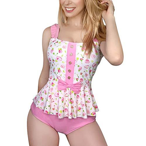 LittleForBig Traje de Baño Modesto Kawaii Bañador una Pieza - Rosa Vintage XL