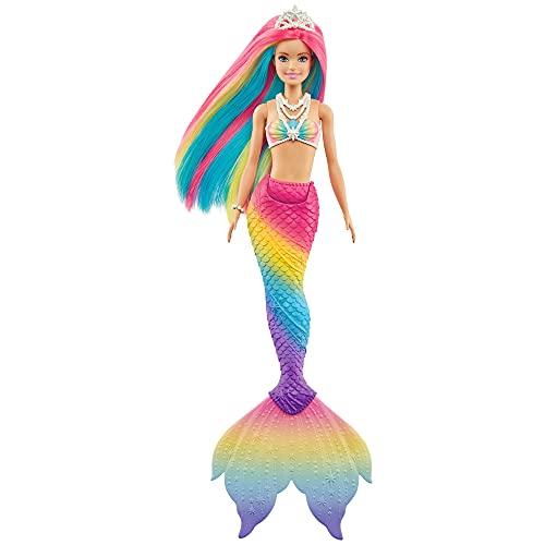 Barbie Dreamtopia Muñeca sirena arcoiris mágico, cambia de color en el agua, regalo...