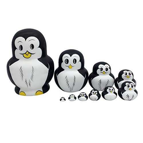 10pcs Juegos de Muñecas Matrioska Pintado A Mano Pingüino Rusos Jerarquización...