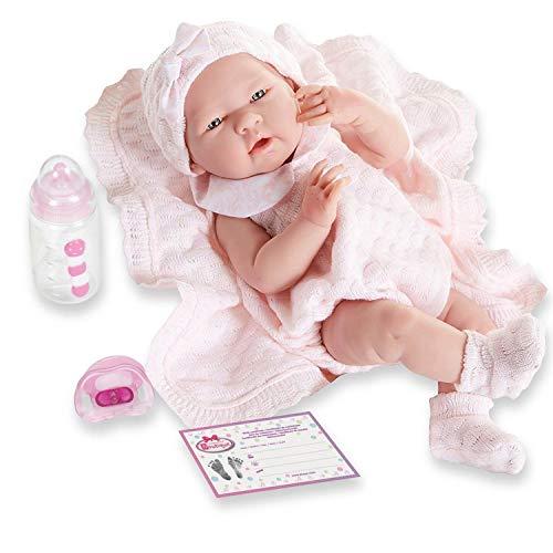 Berenguer Realistic Little Girl Doll - Traje de punto rosa con manta, 15 '