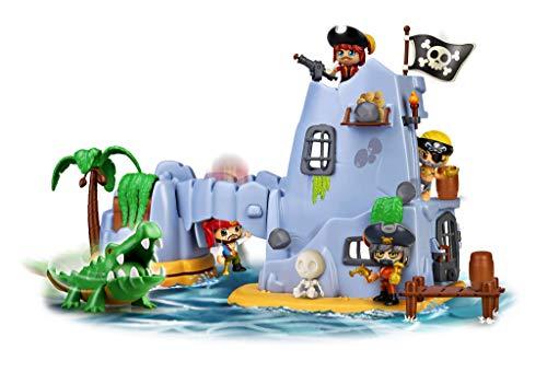 Pinypon Action- Isla Pirata del Capitán Caimán con 2 Figuras, niñas de 4 a 8 años...