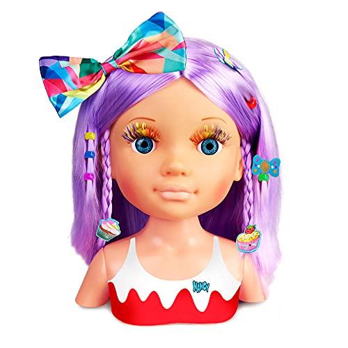 Nancy - Un Día de Secretos de Belleza Violeta, Busto de muñeca con el Pelo Morado y...