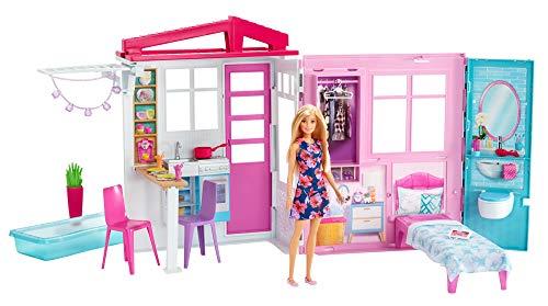 Barbie - Casa amueblada pleglable con cocina, piscina, dormitorio y lavabo con...