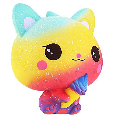 Squishie Gato helado arco iris multicolor juguete infantil lento antiestrés Squishy...