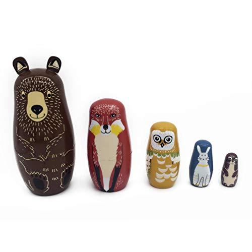 ULTNICE 5 muñecas rusas matrioskas, diseño de oso, apilables