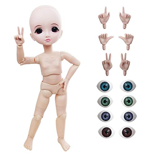Naked 1/6 BJD Doll,29cm 11inch Ball Jointed Dolls +Basic Makeup + 5 Colors Eyes +...