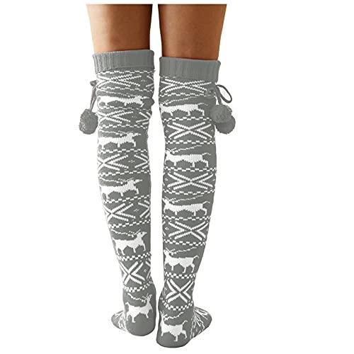 Calcetines de Navidad para mujer, por encima de la rodilla, largos, estilo retro,...