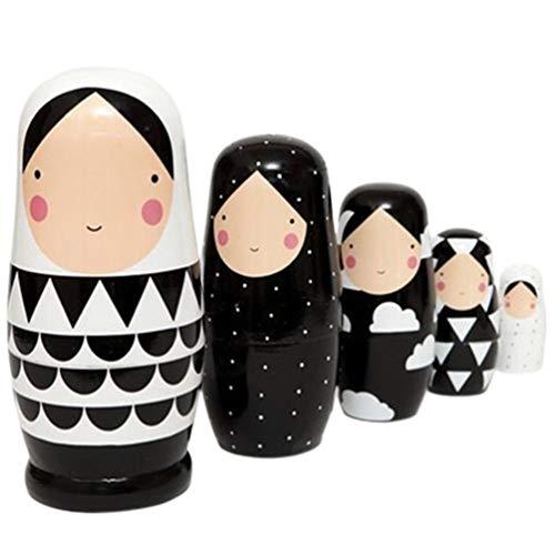 SUPVOX Muñecas Rusas de anidación niñas apilables muñecas de Madera 5 Capas...
