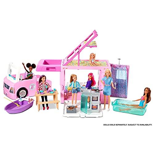 Barbie Caravana para acampar 3 en 1 de Barbie con piscina, camioneta, barca y 50...