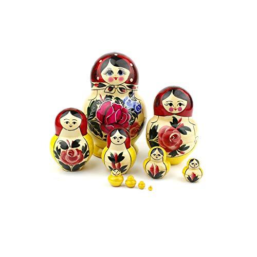 Muñecas Rusas Redondeadas, 10 Matrioskas de Estilo Rojo Redondeado | Muñeca...