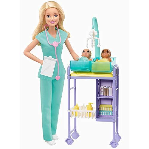 Barbie Quiero Ser pediatra muñeca rubia con dos bebes y accesorios (Mattel GKH23)
