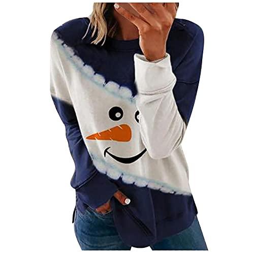 Crop Tops - Camiseta de manga larga para mujer, diseño de muñeco de nieve de...