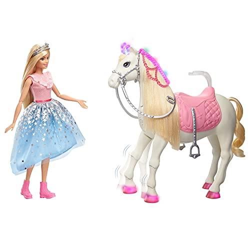 Barbie - Princess Adventures Prance y Shimmer Caballo y muñeca Rubia, Regalo niños...