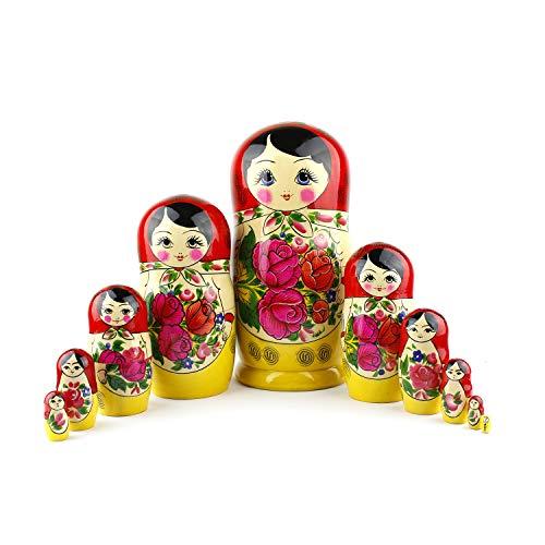 Muñecas Rusas, 10 Matrioskas Rojas de Estilo Semiónov Clásico | Muñeca Babushka...