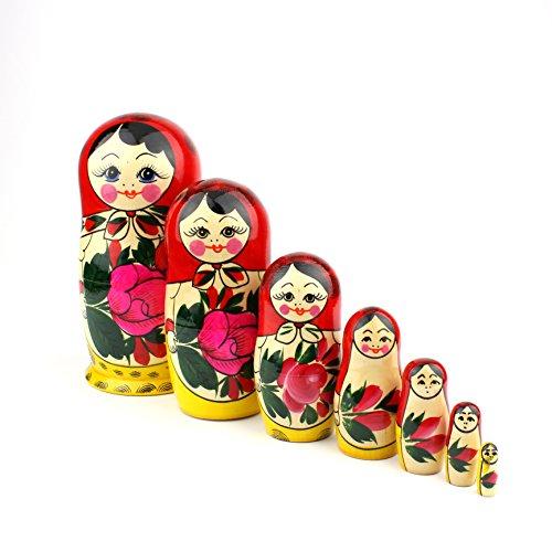 Muñecas Rusas, 7 Matrioskas Rojas de Estilo Semiónov Clásico | Muñeca Babushka de...