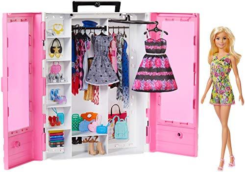 Barbie Fashionista Armario portable con muñeca incluida, ropa, complementos y...
