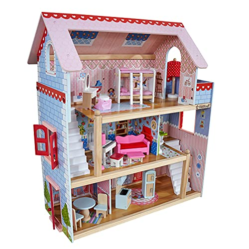 KidKraft 65054 Casa de muñecas de madera Chelsea Doll Cottage para muñecas de 12 cm...
