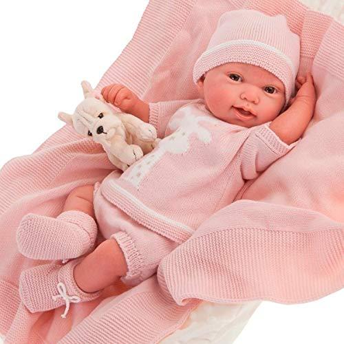 Muñecas Antonio Juan- Happy Reborn, Color Rosa y Blanco (8121)