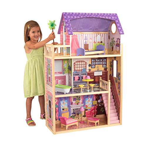 KidKraft 65092 Casa de muñecas de madera Kayla para muñecas de 30 cm con 10...