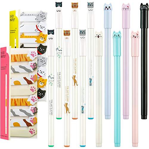 12 Bolígrafos de Gato Lindo Bolígrafos de Tinta Gel Pluma de Escritura Kawaii y 320...