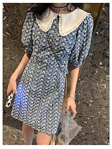 Shenme Vestido de muñeca pequeña Collar de hamo de Manga Corta patrón Floral...