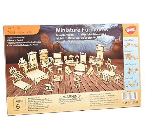 BOHS 34PCS Kit de artesanía para Muebles de casa de muñecas - Rompecabezas de...