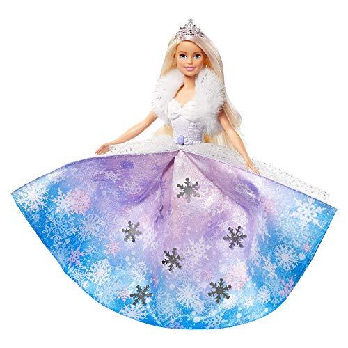 Barbie Muñeca Princesa de la nieve, falda azul transformación mágica (GKH26)