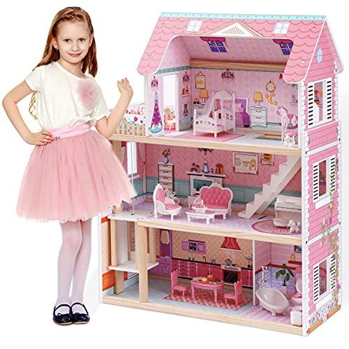 ROBUD Casa de muñecas para muñecas pequeñas para niñas, juego de juguetes de...