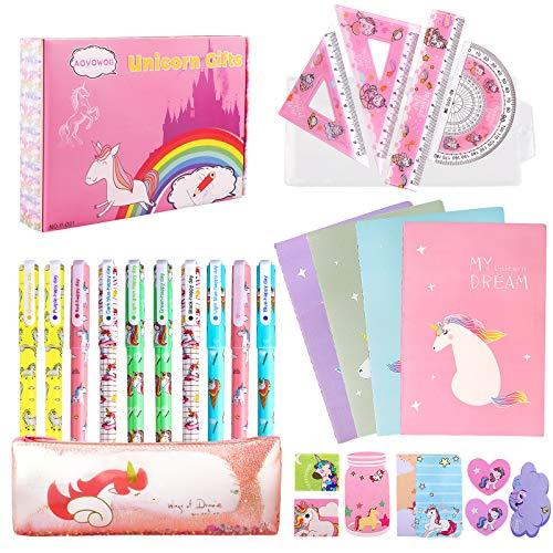 27 Piezas Unicornio Set de Papelería Bolígrafos Cuaderno Libreta de Notas y...