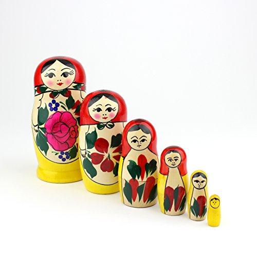 Muñecas Rusas, 6 Matrioskas Rojas de Estilo Semiónov Clásico   Muñeca Babushka de...