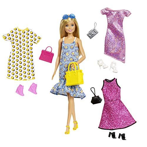 Barbie Fashionistas GDJ40 - Juego de muñeca Rubia y Ropa y Accesorios para 4 Trajes...