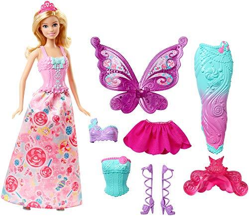 Barbie Dreamtopia, muñeca fiesta de disfraces princesa, sirena y hada, regalo para...